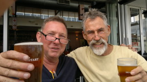 It's not all work; Andy and electrician mate Mick Hoelscher.
